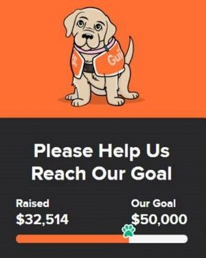 """A cartoon image of a Guide Dog puppy on an orange background. Below in white print on a black background is a slider showing $32,514 of $50,000 raised. Text reads """"Please help us reach our goal."""""""